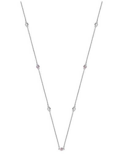 Treasure House 18k White Gold Diamond and Pink Sapphire Necklace NDQ110WPS