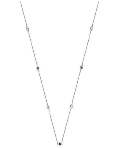 Treasure House 18k White Gold Diamond and Blue Sapphire Necklace NDQ110WS
