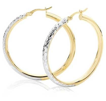 Treasure House 9k Yellow and White Gold Diamond Cut Hoop Earrings 30 mm ER1032-30