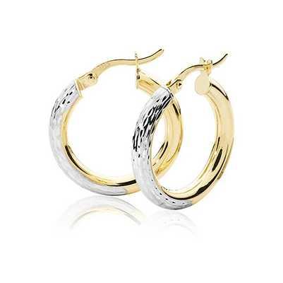 Treasure House 9k Yellow and White Gold Diamond Cut Hoop Earrings 15 mm ER1032-15