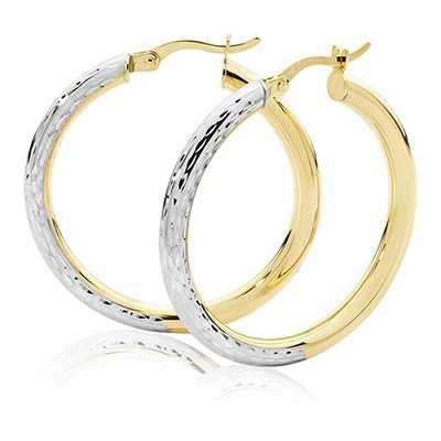 Treasure House 9k Yellow and White Gold Diamond Cut Hoop Earrings 25 mm ER1032-25