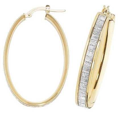 Treasure House 9k Yellow Gold Oval Hoop Earrings ER1024-V4