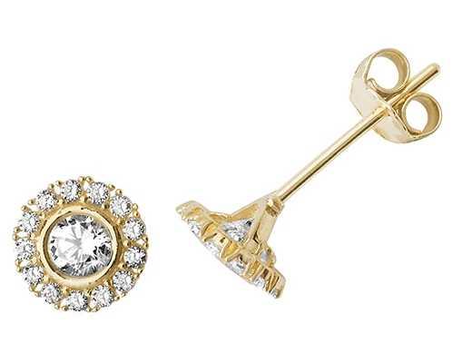 Treasure House 9k Yellow Gold Cubic Zirconia Stud Earrings ES516