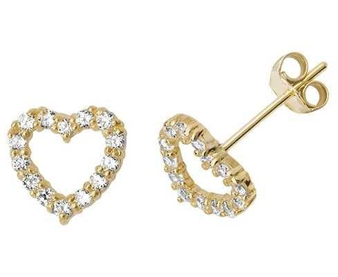 Treasure House 9k Yellow Gold Cubic Zirconia Heart Stud Earrings ES512