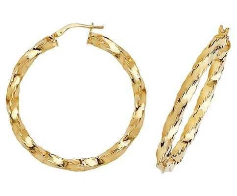 Treasure House 9k Yellow Gold Hoop Earrings 35 mm ER137N