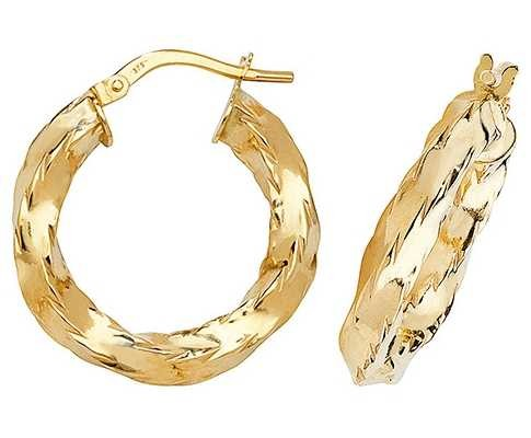 Treasure House 9k Yellow Gold Hoop Earrings 15 mm ER132