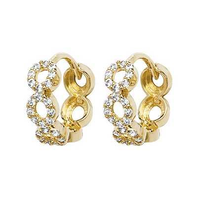 Treasure House 9k Yellow Gold Cubic Zirconia Circle Hoop Earrings ER1149