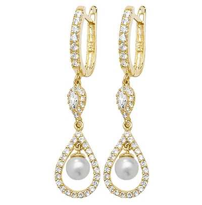Treasure House 9k Yellow Gold Drop Pearl Cubic Zirconia Earrings ER1136