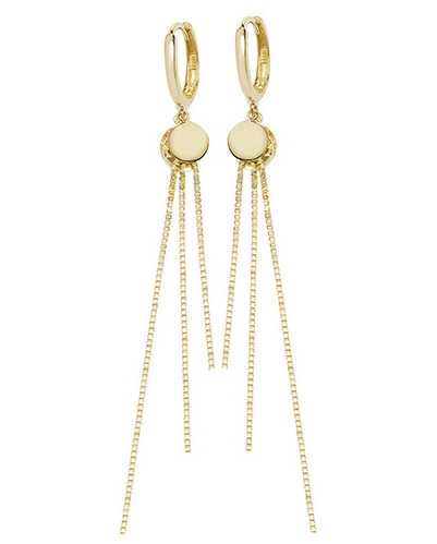James Moore TH 9k Yellow Gold Drop Chain Earrings ER1132