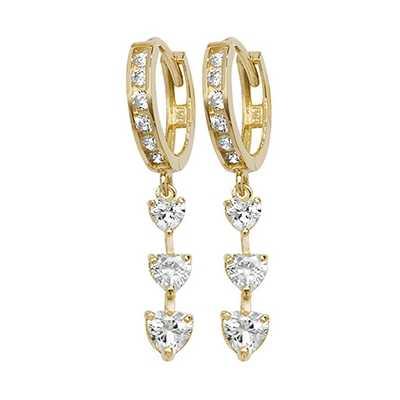 Treasure House 9k Yellow Gold Cubic Zirconia Drop Earrings ER1112