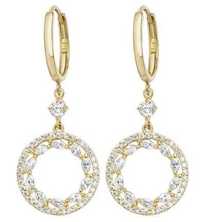 James Moore TH 9k Yellow Gold Cubic Zirconia Drop Earrings ER1105
