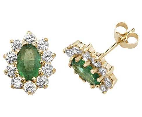 James Moore TH 9k Yellow Gold Emerald Cubic Zirconia Stud Earrings ES545EM