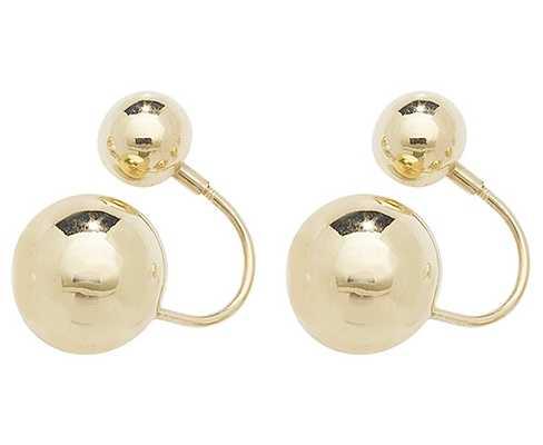 Treasure House 9k Yellow Gold Double Ball Earrings ES548