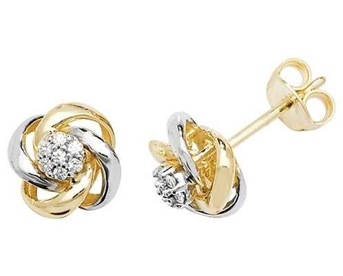 Treasure House 9k Yellow and White Gold Cubic Zirconia Stud Earrings ES560
