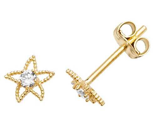 Treasure House 9k Yellow Gold Starfish Cubic Zirconia Stud Earrings ES583
