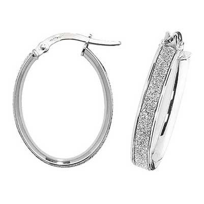 Treasure House 9k White Gold Oval Hoop Earrings ER1023W-V3