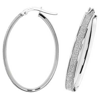 Treasure House 9k White Gold Oval Hoop Earrings ER1023W-V4