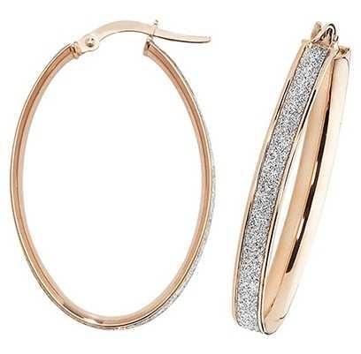 Treasure House 9k Rose Gold Oval Hoop Earrings ER1023R-V4