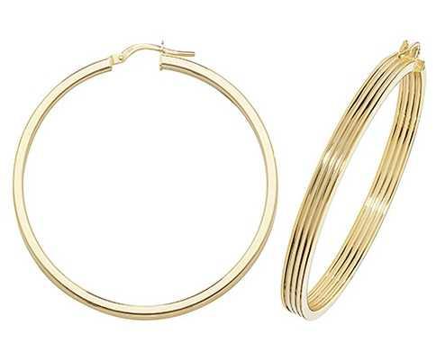 James Moore TH 9k Yellow Gold Hinged Ridge Hoop Earrings 40 mm ER1017-40