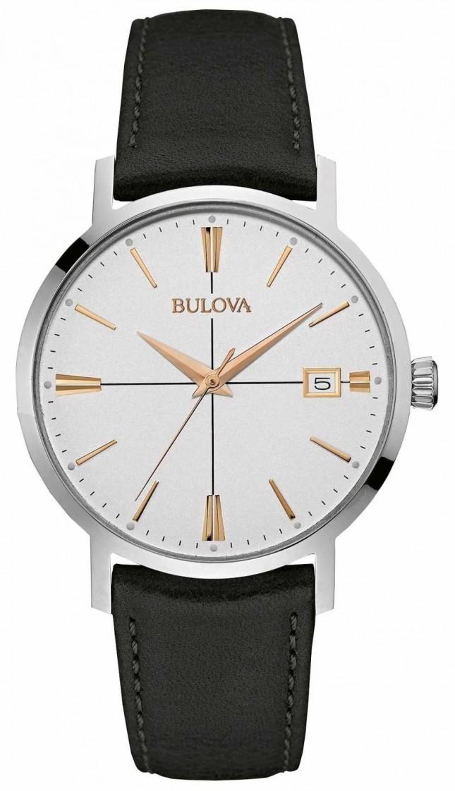 Bulova Mens Black Leather Strap White Dial 98B254