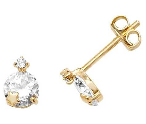 Treasure House 9k Yellow Gold Cubic Zirconia Star Stud Earrings ES604