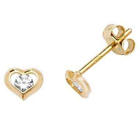 Treasure House 9k Yellow Gold Cubic Zirconia Heart Earrings ES607