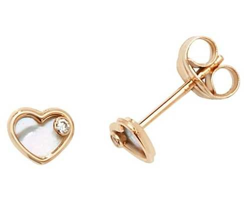 Treasure House 9k Yellow Gold Mother Of Pearl Heart Stud Earrings ES616