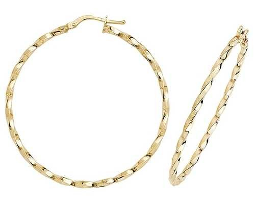 Treasure House 9k Yellow Gold Hoop Earrings 40 mm ER1008-40