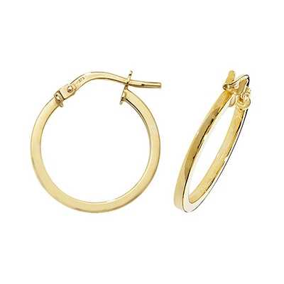 Treasure House 9k Yellow Gold Hoop Earrings 15 mm ER1007-15