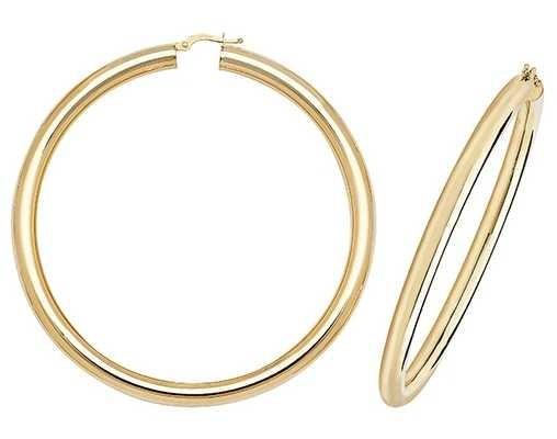 James Moore TH 9k Yellow Gold Hoop Earrings 60 mm ER1005-60