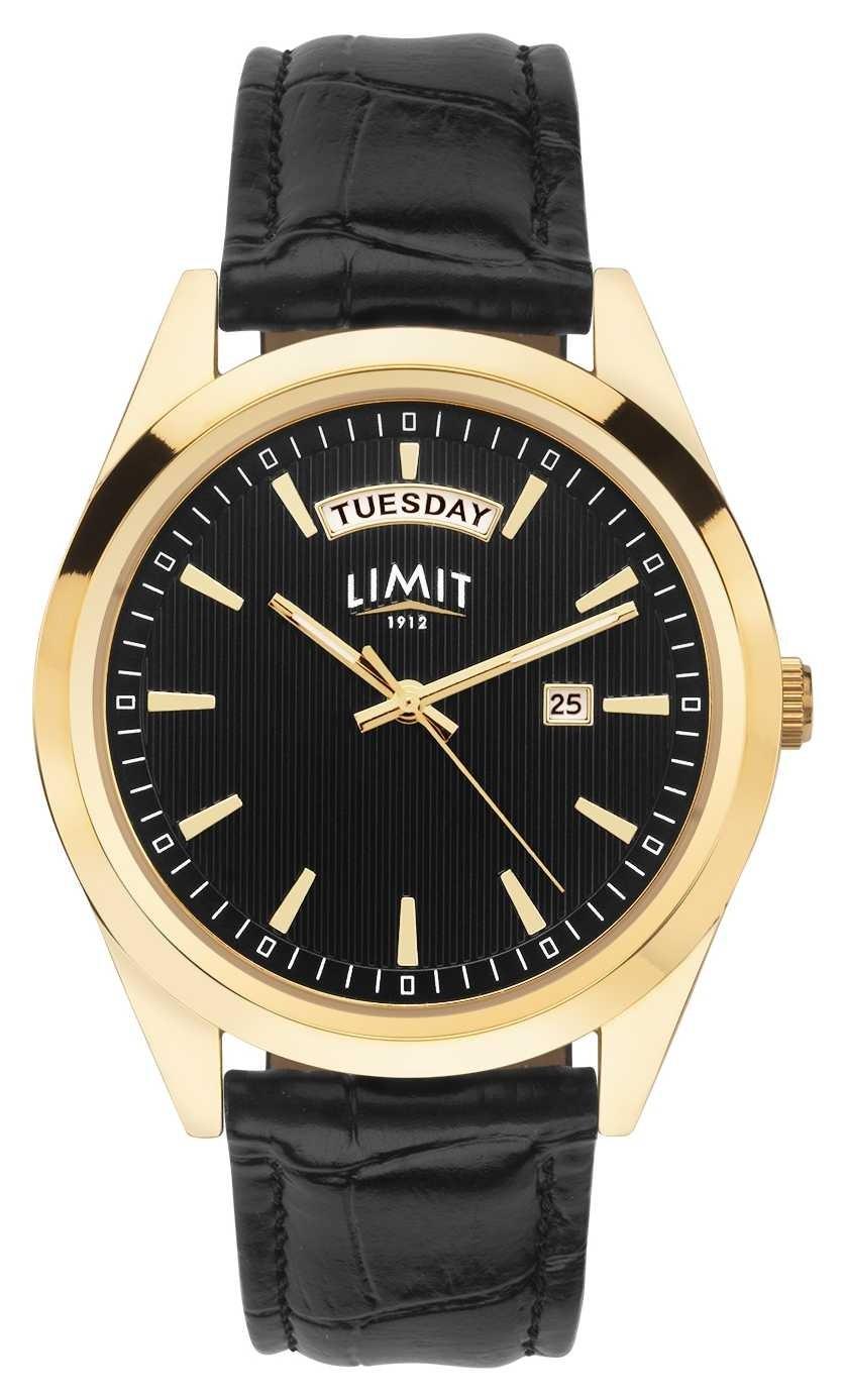 Limit | Mens Black Leather Strap | Black Dial | Gold Case | 5750.01
