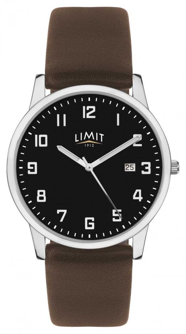 Limit   Mens Dark Brown Leather Strap   Black Dial   5744.01