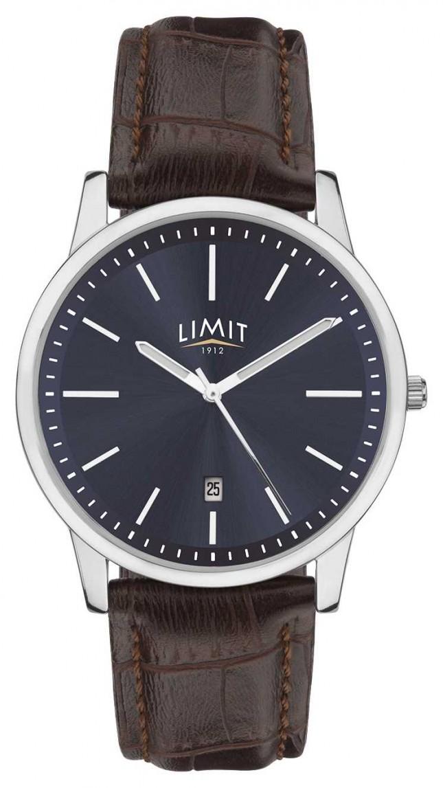Limit   Mens Brown Leather Strap   Blue Dial   Silver Case   5745.01