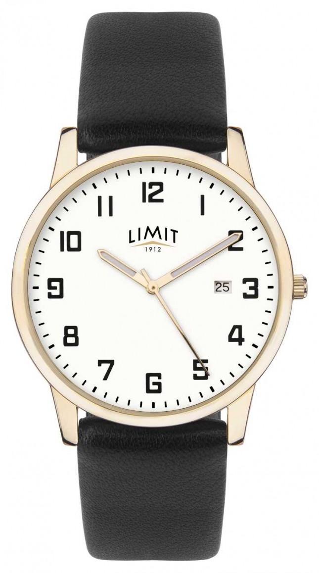 Limit   Mens Black Leather   Silver Dial   Gold Case   5742.01