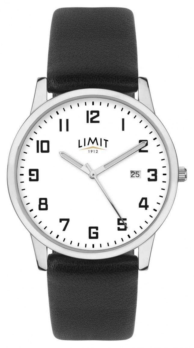Limit   Mens Black Leather Strap   Silver/White Dial   5741.01