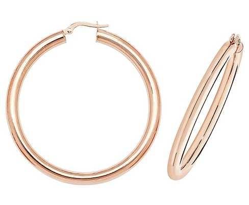 Treasure House 9k Rose Gold Hoop Earrings 40 mm ER1004R-40