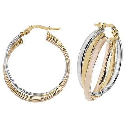 James Moore TH 9k Tri Colour Gold Hoop Earrings 20 mm ER1000-20