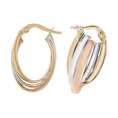 Treasure House 9k Tri Colour Gold Oval Hoop Earrings ER1001