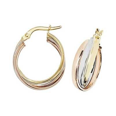 Treasure House 9k Tri Colour Gold Hoop Earrings 15 mm ER1000-15