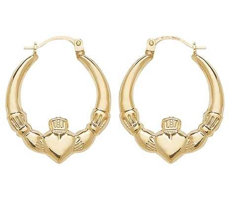 Treasure House 9k Yellow Gold Claddagh Creole Earrings ER070