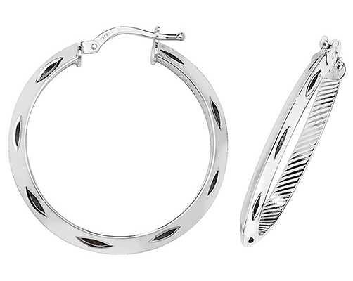Treasure House 9k White Gold Diamond Cut Hoop Earrings 25 mm ER053W