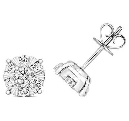 Treasure House 18k White Gold Diamond Stud Earrings EDQ326W