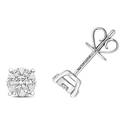 Treasure House 18k White Gold Diamond Stud Earrings EDQ323W