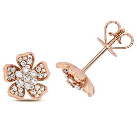 Treasure House 18k Rose Gold Diamond Flower Stud Earrings EDQ316R