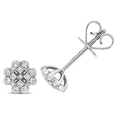 Treasure House 18k White Gold Diamond Clover Stud Earrings EDQ315W