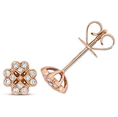 Treasure House 18k Rose Gold Diamond Clover Stud Earrings EDQ315R