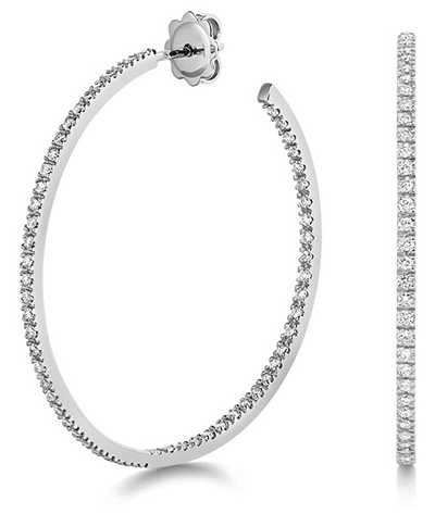 Treasure House 18k White Gold Diamond Hoop Earrings EDQ314W