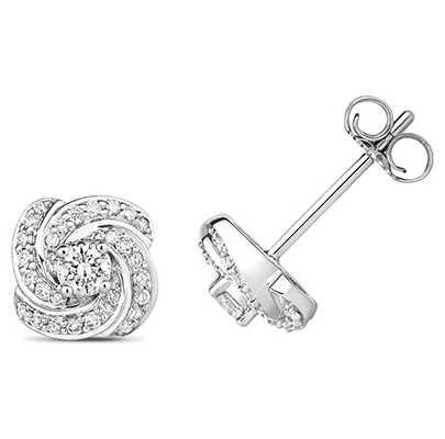 Treasure House 18k White Gold Diamond Swirl Earrings EDQ313W