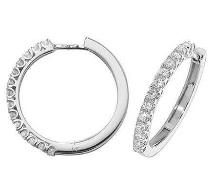 Treasure House 18k White Gold Diamond Hoop Earrings EDQ307W