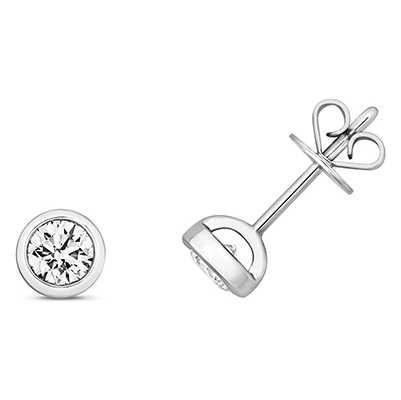 Treasure House 18k White Gold Diamond Rubover Stud Earrings EDQ174W
